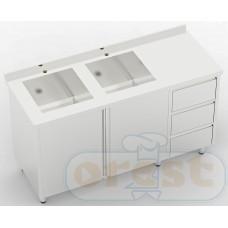 Stoly z szafka Orest Stół ze zlewem dwukomorowym szafka shuflady CSW-2.1-С2S3DR