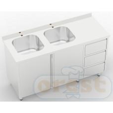 Stoly z szafka Orest Stół ze zlewem dwukomorowym z szafka i szuflady CSW-2.1-С2SP3DR